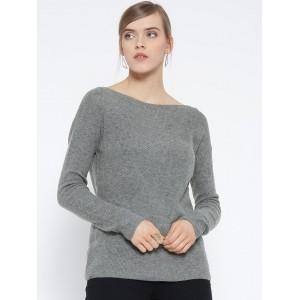 MANGO Grey Melange Polyester Wool Patterned Sweater