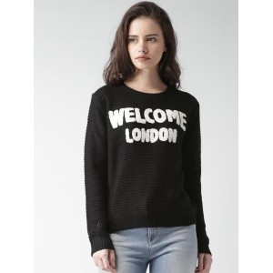 ALCOTT Black Acrylic Applique Detail Sweater