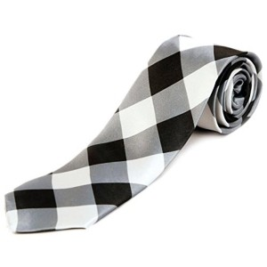 Blacksmith Black And White Checked Satin Tie