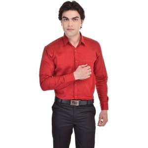 25th R Men's Red Solid Cotton Formal Shirt