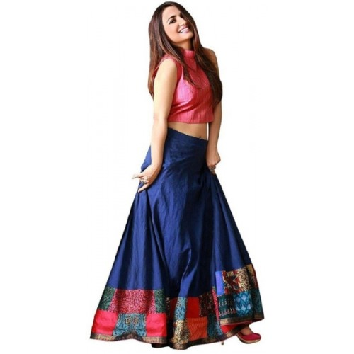 Ross Fab Blue & Pink Tapeta Silk Digital Printed Lehenga Choli