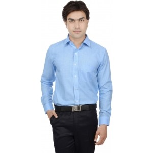 25th R Blue Full Sleeve Checked Men's Formal Shirt