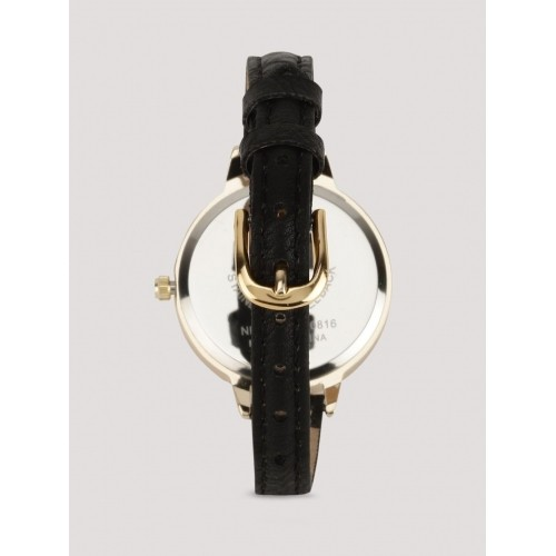 New Look Black & Beige Silicone & Stinless Steel Shimmer Dial Watch