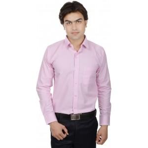 25th R Men's Solid Formal Pink Shirt