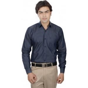25th R Men's Solid Formal Dark Blue Shirt