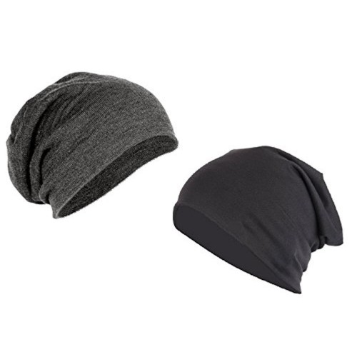 15b829dc5d6 Buy Combo of Coal Grey   Midnight Black Cotton Slouchy Beanie online ...