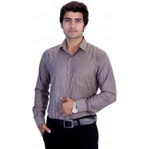 25th R Gray Men's Solid Formal Shirt