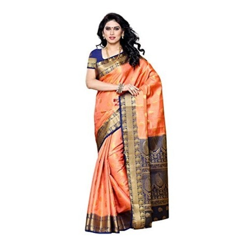 73a99d796a82d4 Buy Mimosa Peach Art Silk Saree Kanjivaram Style With Blouse online ...