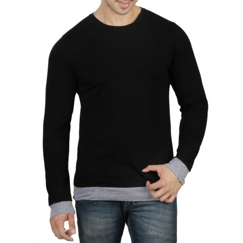 RIGO Black Solid Cotton Crew Neck T-Shirt