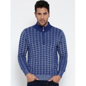 Monte Carlo Blue Patterned Woollen Sweater