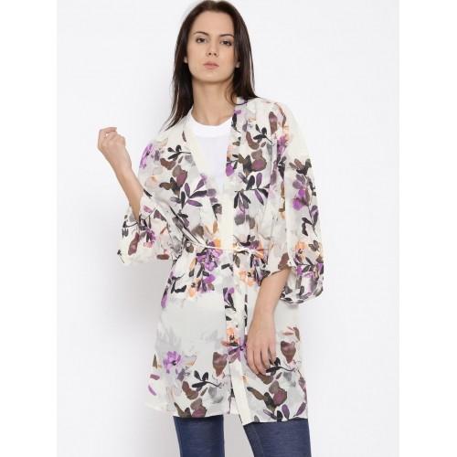 Buy Vero Moda Off White Polyester Floral Print Kimono