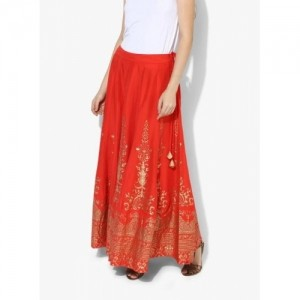 Biba Red Flared Cotton Foil Print Skirt
