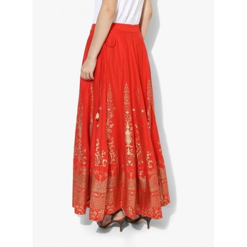 Biba Red Flared Cotton Foil Print Skirt