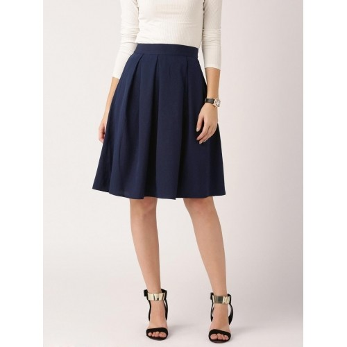 DressBerry NavyBlue Solid Pleated Flared Skirt