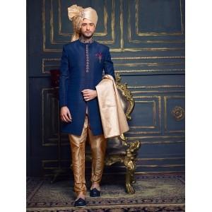 Navy Blue Silk Solid Indo Western Sherwani