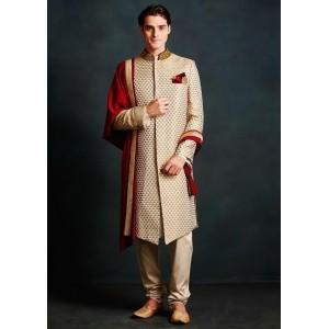 Beige Silk Embroidered Indo Western Sherwani