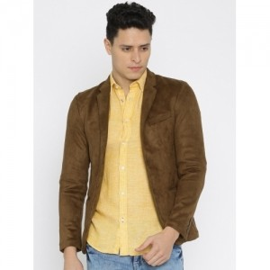Jack & Jones Brown Polyester & Spandex Single-Breasted Blazer
