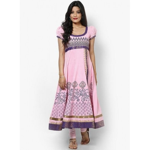 MBE Pink Cotton Printed Anartkali Kurti