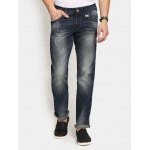 Wrangler Black Blended Regular Fit Distressed Jeans