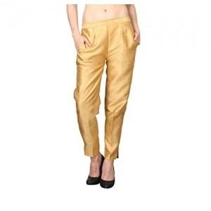 Shararat Cotton Silk Golden Pants With Narrow Bottom