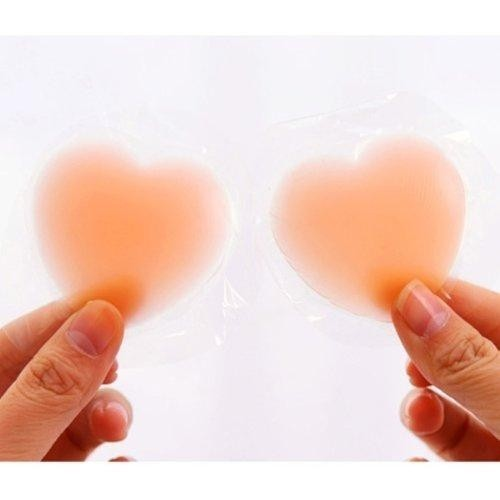 Beige Reusable 1 Pair Silicone Nipple Cover Bra Pad