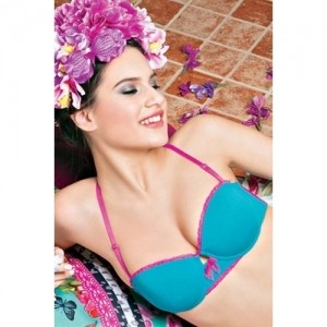Enamor Blue Majestic Orchids Padded Underwired Bra