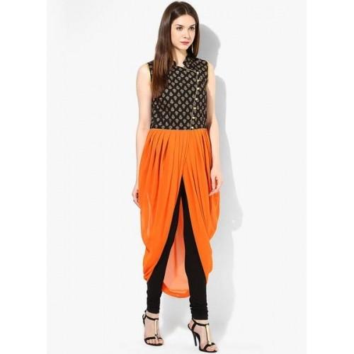 Aks Orange Solid Dhoti Style Kurtis