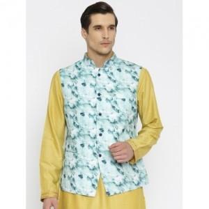 Raymond Ethnix Blue Linen Printed Linen Nehru Jacket