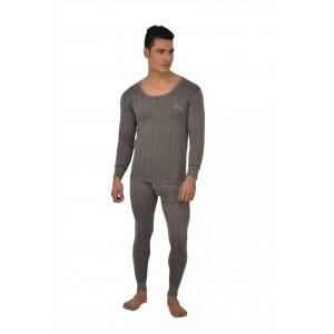 Lux Inferno Men's Gray Solid Thermal Pyjama Set