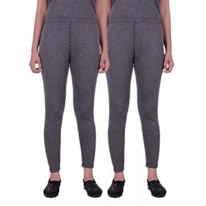 Zimfit Gray Solid Combo Thermals Pyjama