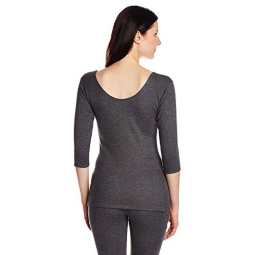 Jockey Women's Cahrcoal Solid Thermal Top