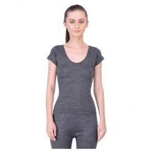 Japcis Gray Solid U-Neck Wool Thermal Set