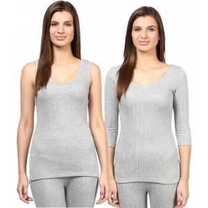 RedFort Gray Solid Cotton Blend Thermal Top