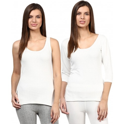 Redfort White Cotton Solid Thermal Top