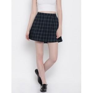 Vero Moda Green & Navy Blue Checked Flared Mini Skirt
