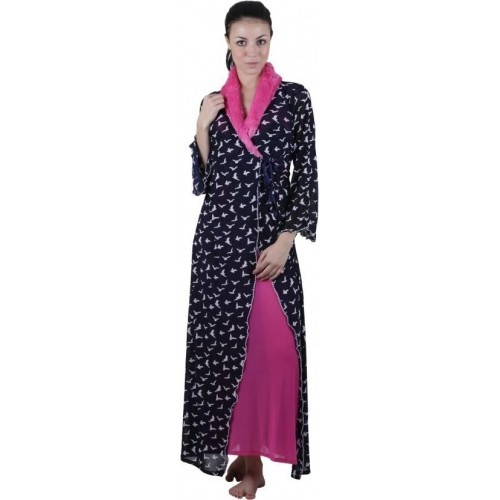 Buy Vixenwrap Black   Pink Color Printed Nighty With Robe online ... 854e3b368