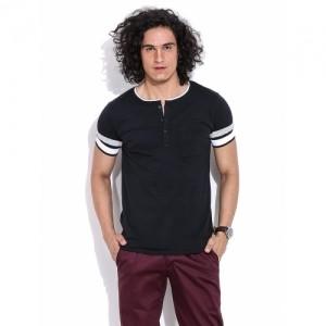 Mr Button Black The Rugged Tokyo Henley T-Shirt