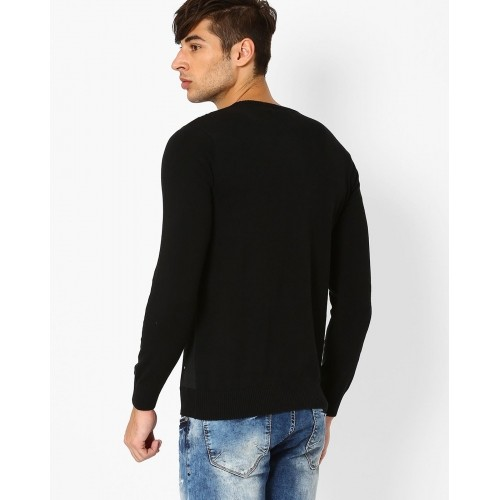 Spykar Black Slim Fit Crew-Neck T-shirt