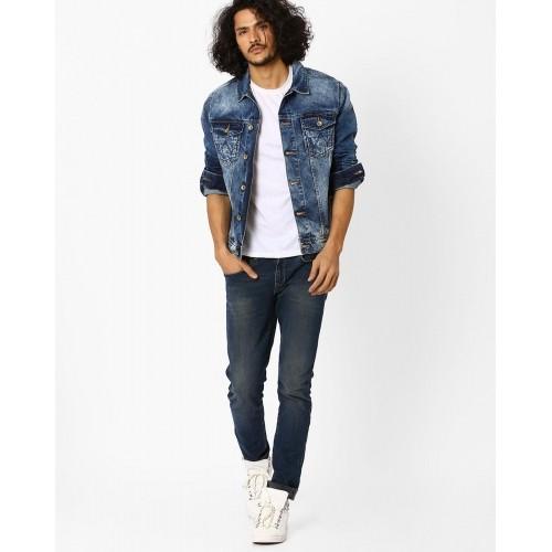 Wrangler Blue Regular Fit Washed Denim Jacket