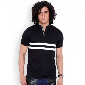 MR BUTTON Black Structured Fit Striped Men's T-shirt