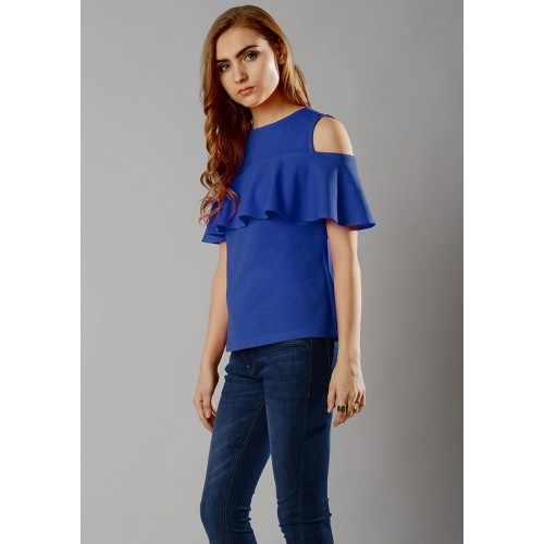 e9570b35372 Buy Faballey Royal Blue Ruffled Cold Shoulder Top online   Looksgud ...