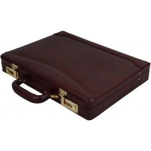 Clubb Sleek Maroon Leather Briefcase For Men