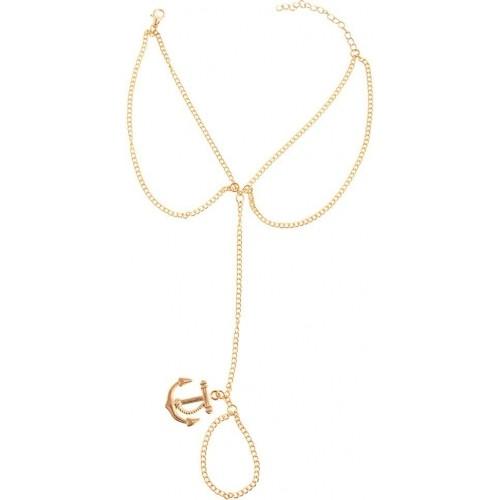 Aaishwarya Golden Alloy Ring Bracelet