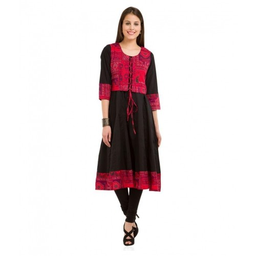 65432dc8a Buy Vishudh Black Cotton Anarkali Kurti With Jacket online