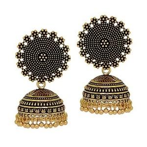 Jaipur Mart Golden & Black Brass Oxidised & Jhumka  Earrings