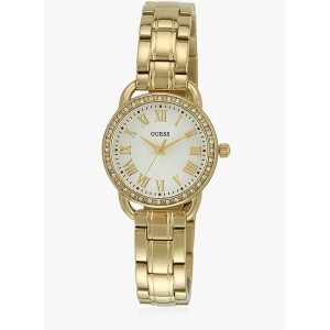 Guess W0837l2 Golden & White Stainless Steel Analog Watch