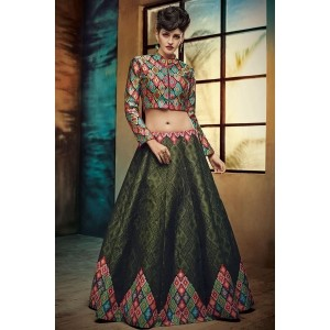 Green Digital Printed Twrill Silk Women's Lehenga Choli