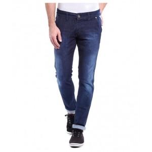 Urbano Fashion Navy Blue Slim Fit Faded Jeans