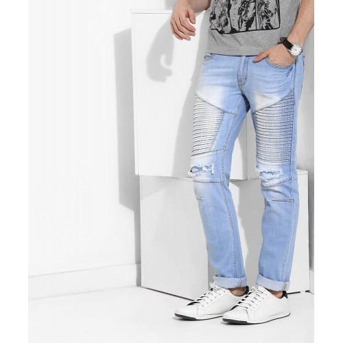 Yepme Light Blue Cotton Washed Jeans