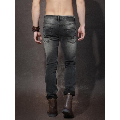 Roadster Charcoal Grey Washed Slash Knee Jeans
